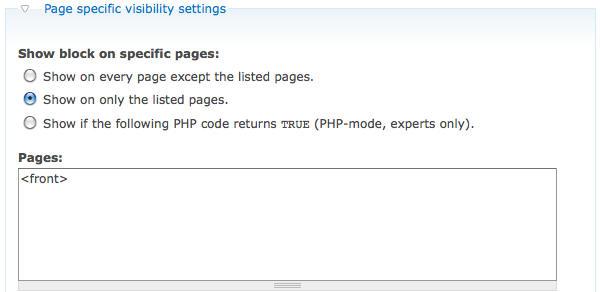 Drupal Page Specific Settings